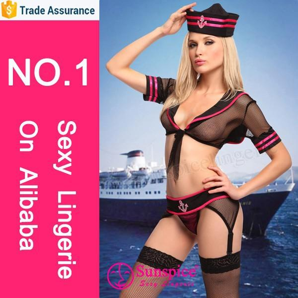 Sunspice Lingerie wholesale top quality and red and black lace navy captain costume
