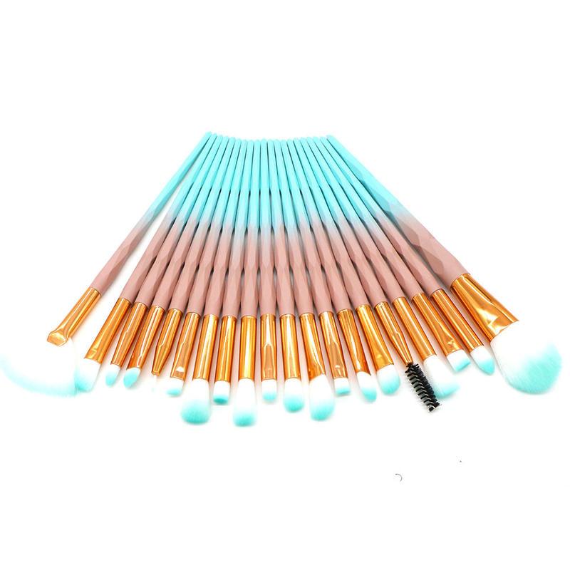 hot selling quality DiamondShape oem make up kit 20 piece eye shadow brush