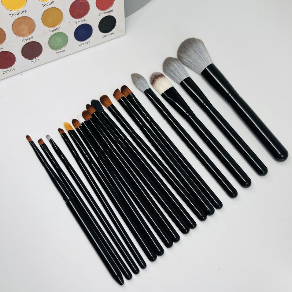 10pcs brown vegan foundation brush set makeup brush with bag