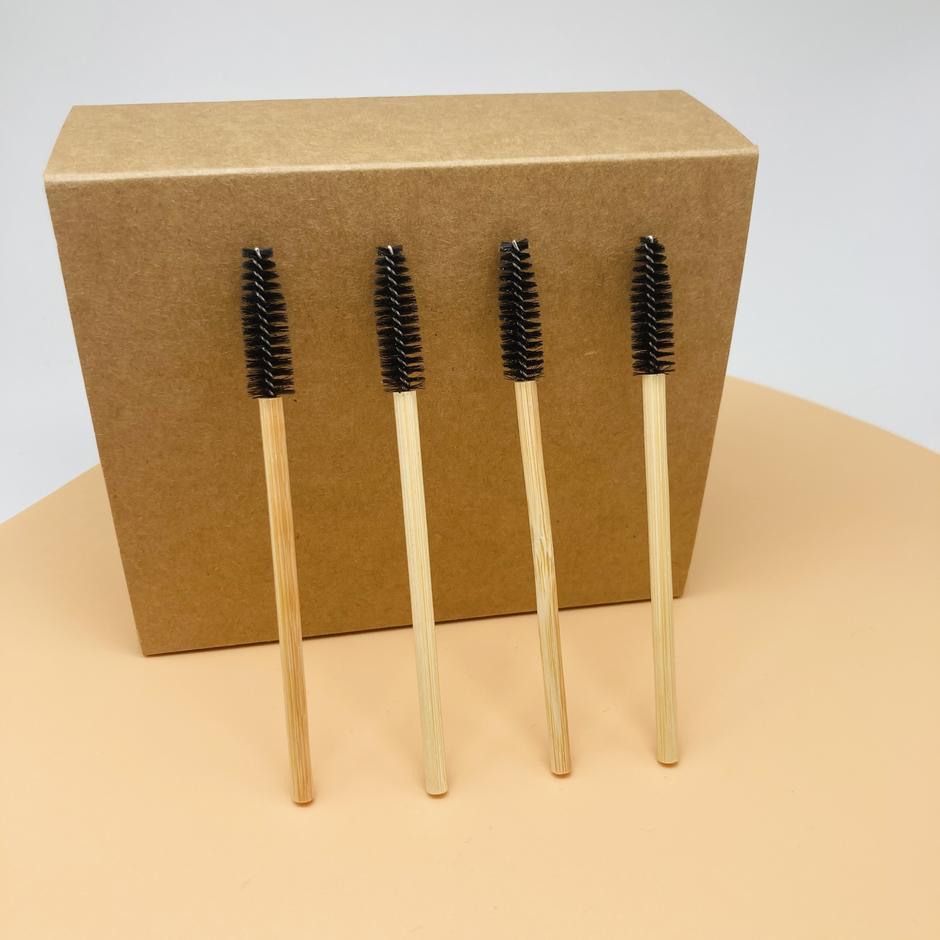 Mascara wands brush for eyelash extension purple bamboo eyelash brush disposable