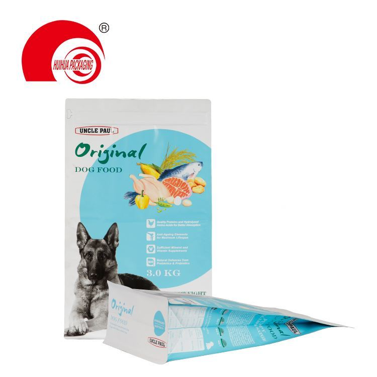 Custom printed 500g dog food packaging bag flat bottom matte finished stand up ziplock pouch