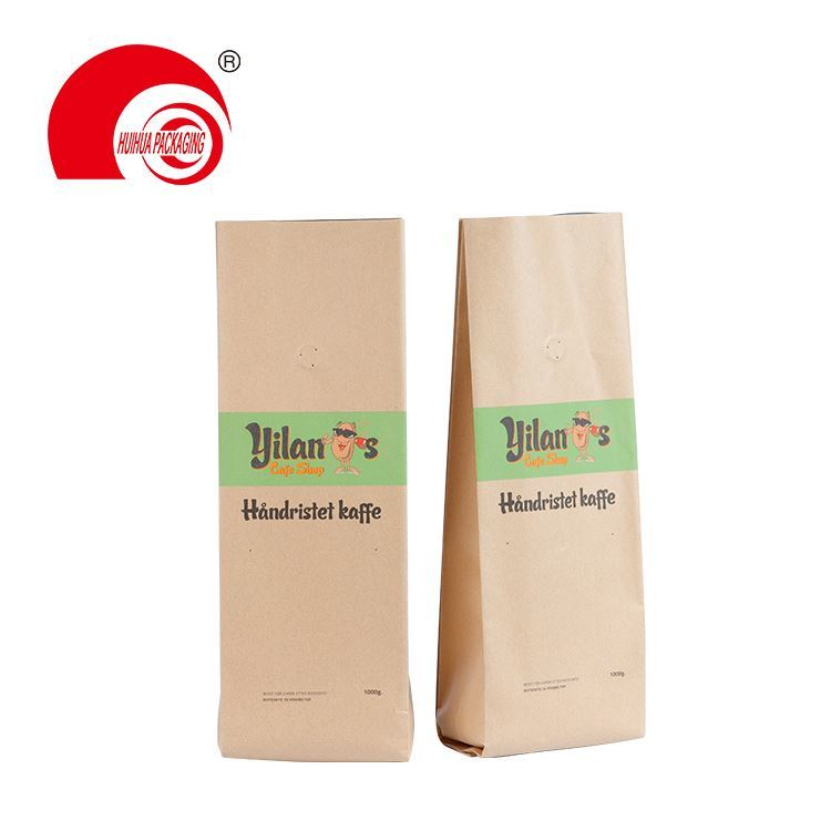 product-Huihua-Biodegradable foil packaging side gusset flat bottom pouch with valve zipper for coff