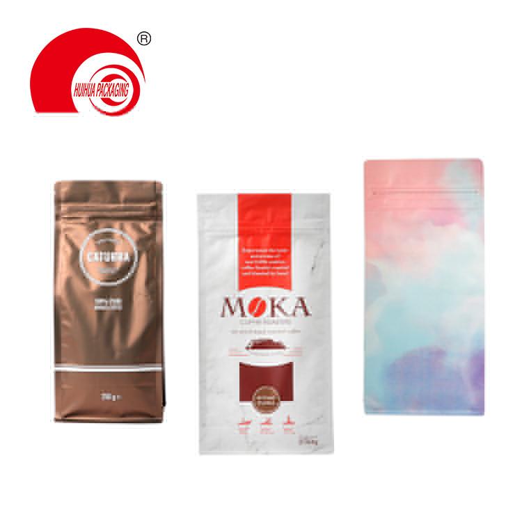 Custom Printed Flat Bottom Aluminium Foil Laminating Plastic Pouch Food Packaging Bag Coffee Bean Bag with Valve