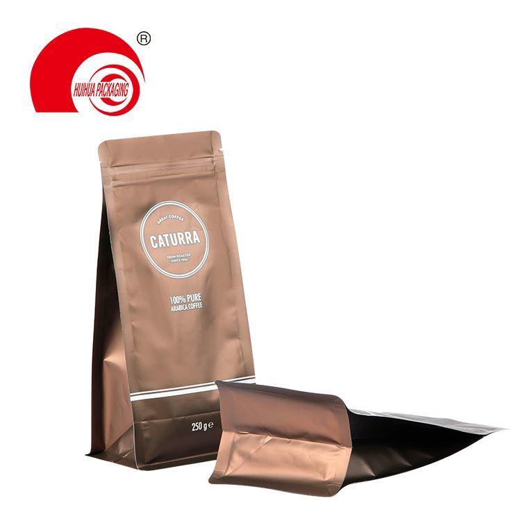 Hot Selling Custom Printing Zipper Coffee Packaging Plastic Square Flat Bottom Bag