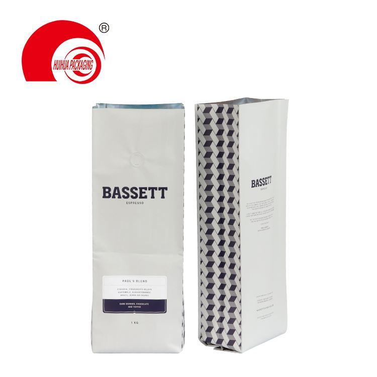 High Quality Aluminium Foil Lined Coffee Bag Side Gusset Flat Bottom Packaging Pouch