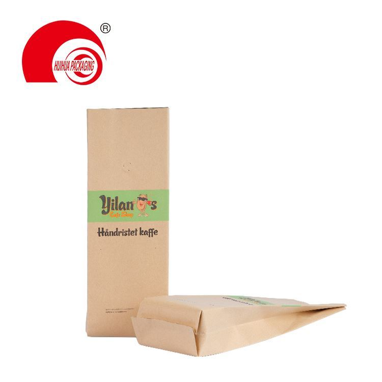 Biodegradable foil packaging side gusset flat bottom pouch with valve zipper for coffee snack popcorn