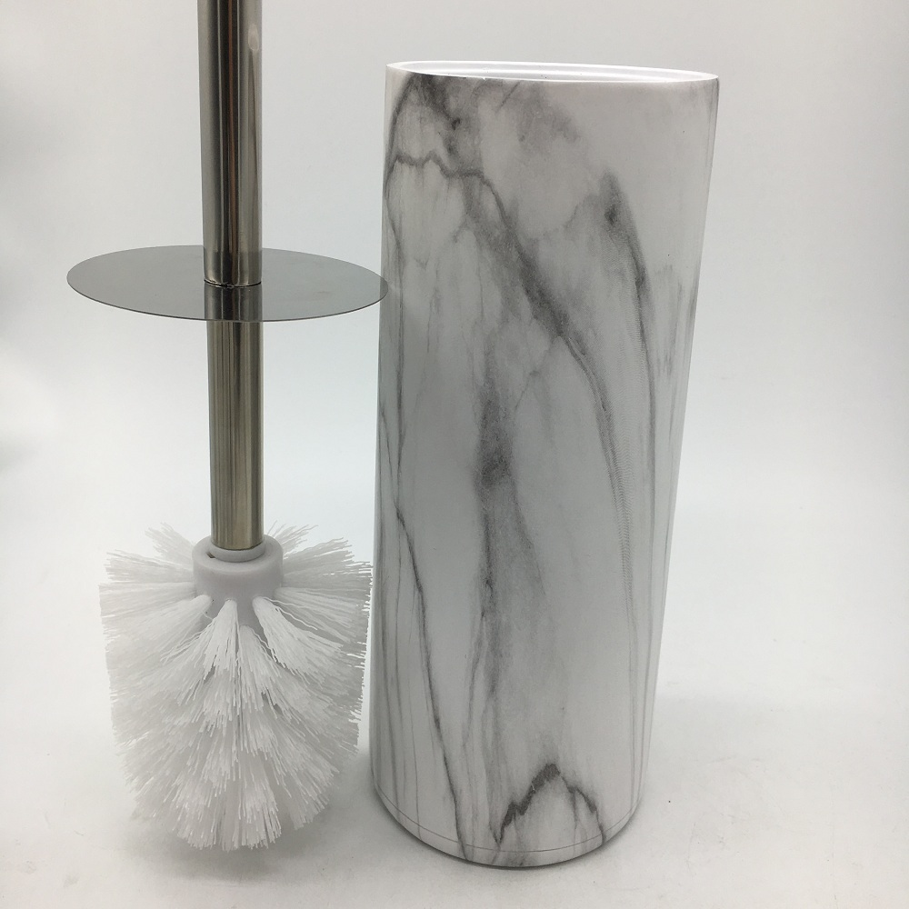 High White Marble Resin Bathroom Toilet Brush Holder