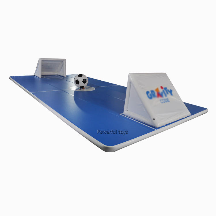 Giant gym inflatable air track floor tumbling matwith goal and football for trampoline park
