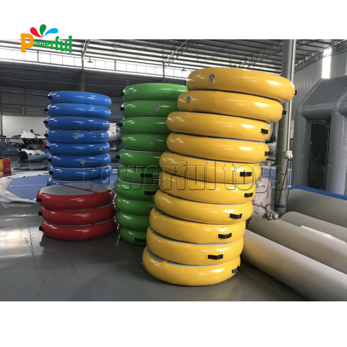 Inflatable round air track, customized cheerleading air spot for gymnastics