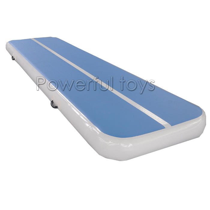 Ready to ship Blue surface white sideAir Track Gymnastics Mat for sale