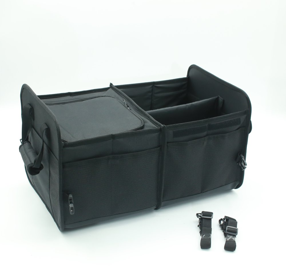 Osgoodway1 China Factory Wholesale Collapsible Portable Cargo Storage Car Trunk Organizer with Tools Grips 3 Large Compartments