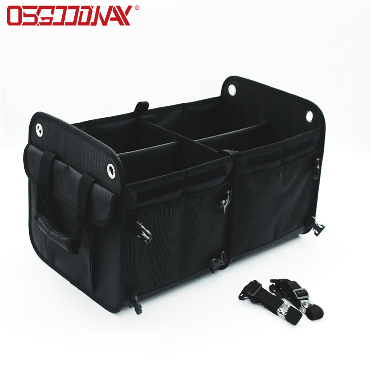 Osgoodway1 Cheaper Foldable 3 Compartment Storage Basket BoxCarOrganizer Bag with Cooler Bag
