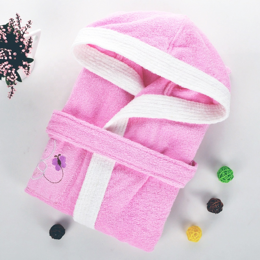 Moisture-absorbing and quick-drying 100% cotton soft and comfortable children bathrobe