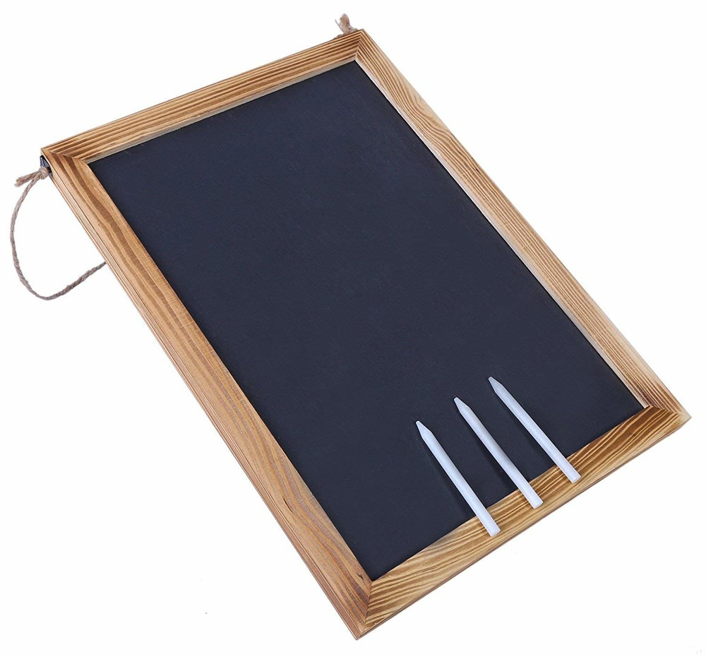 Wholesale handcrafted rustic look MDF wood chalk board Blackboardfor restaurant