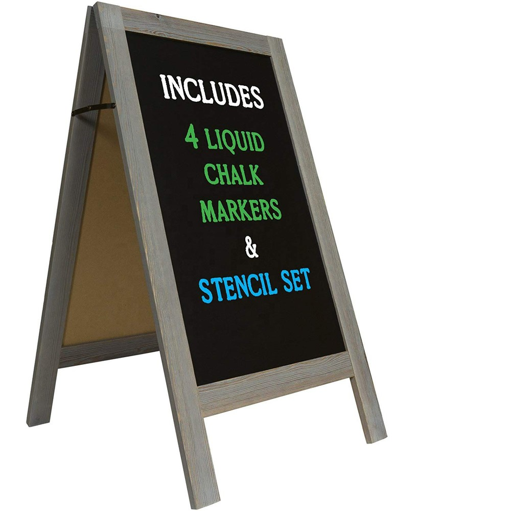 Classic style handcrafted double sided thick sturdy wood blackboard with standing for restaurant or parties