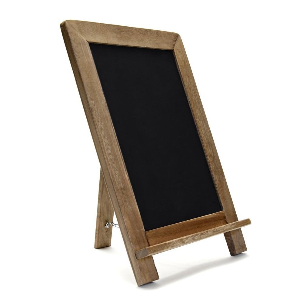 Eco-friendly simple useful free standing wood shelf blackboard