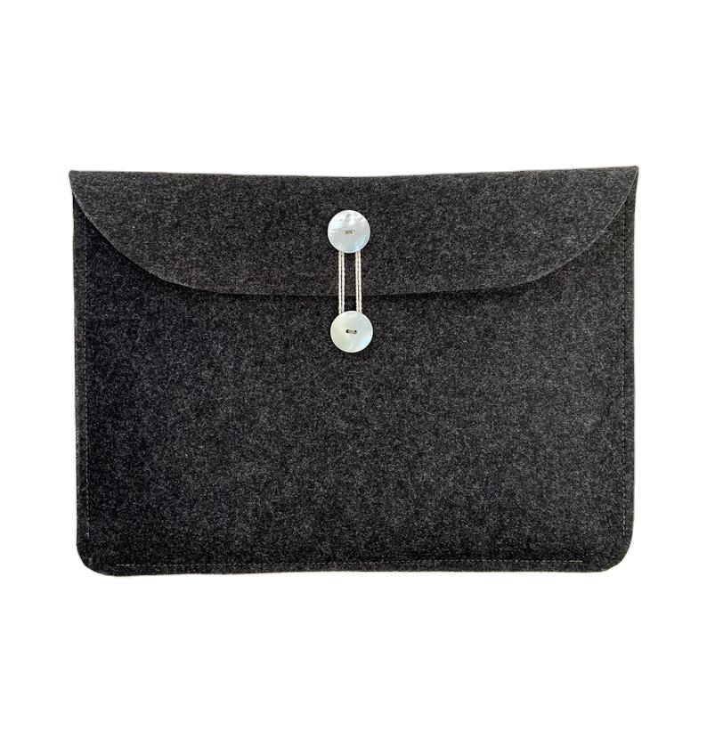 Charcoal Wool Felt Laptop Case 13