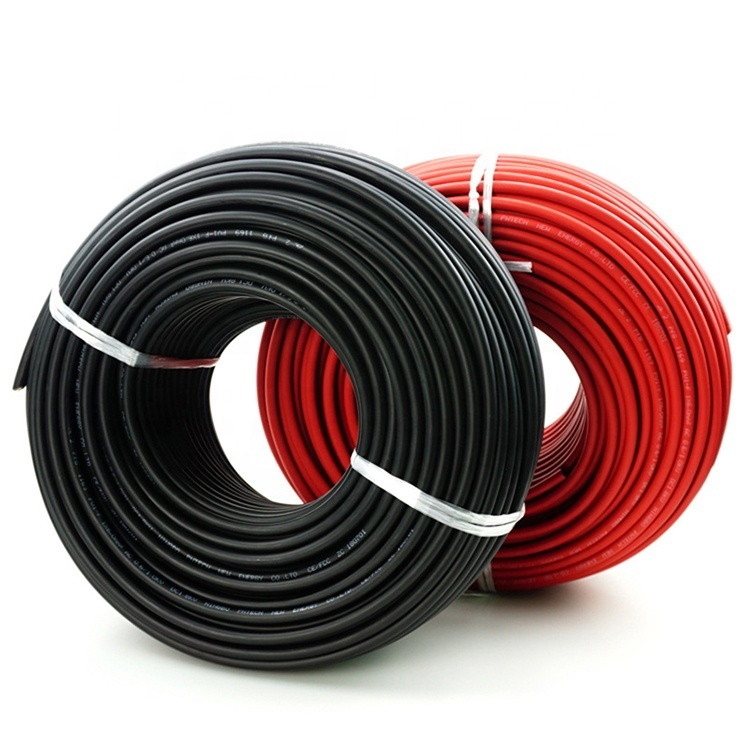 Black 6mm H1Z2Z2-K solar panel collecting cable H1Z2Z2-K EN50618 1500V DC Solar cable for sale