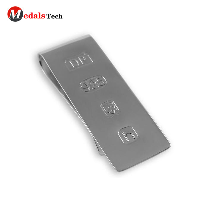 Double sided laser stainless steel sterling silver mens custom money clip for gifts