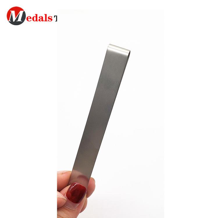 Unique promotional gravure printing logo cut out metal folding adjustable money clips wholesale