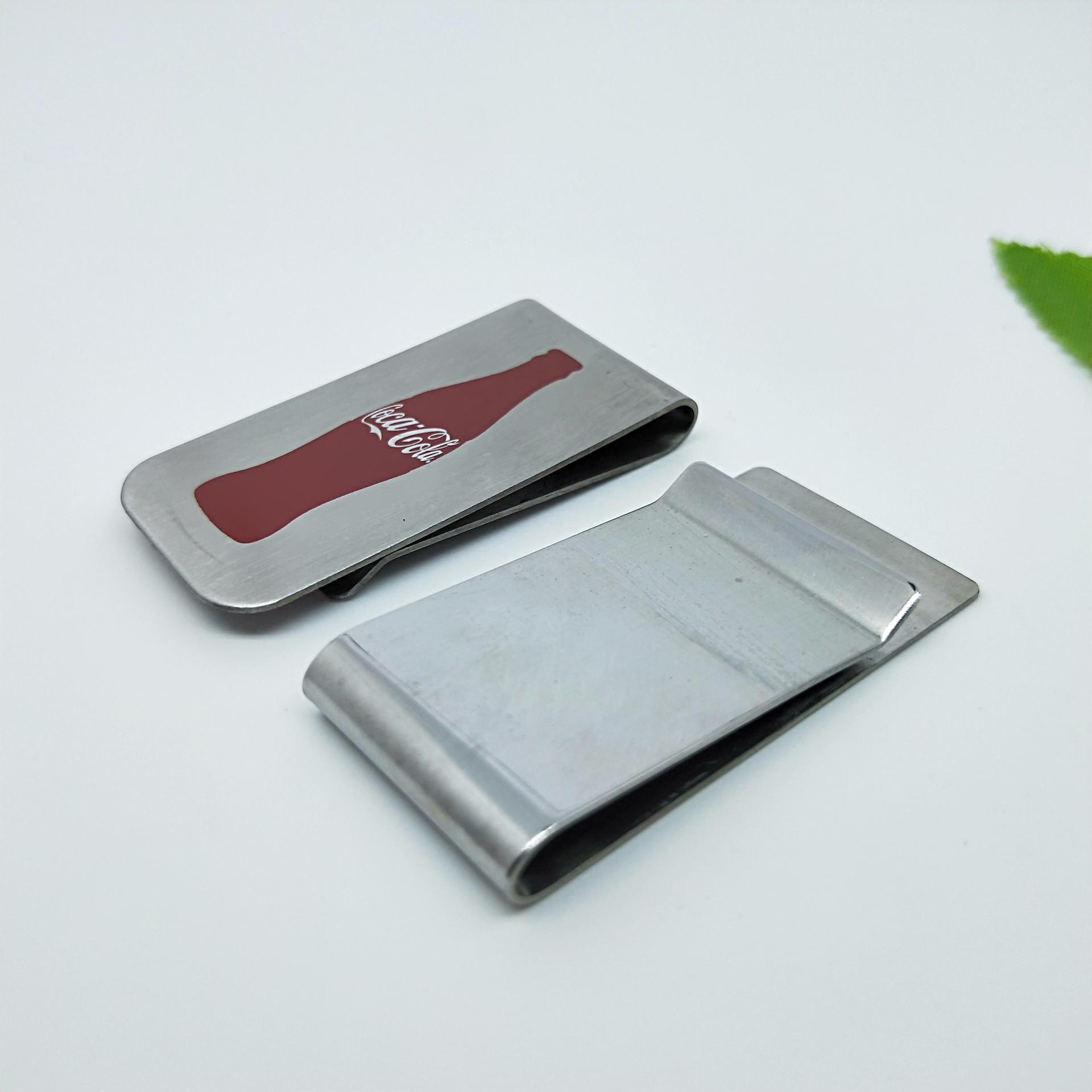 Dongguan 2021 new style mens popular metal 304 stainless steel fold pocket blank money clip leather