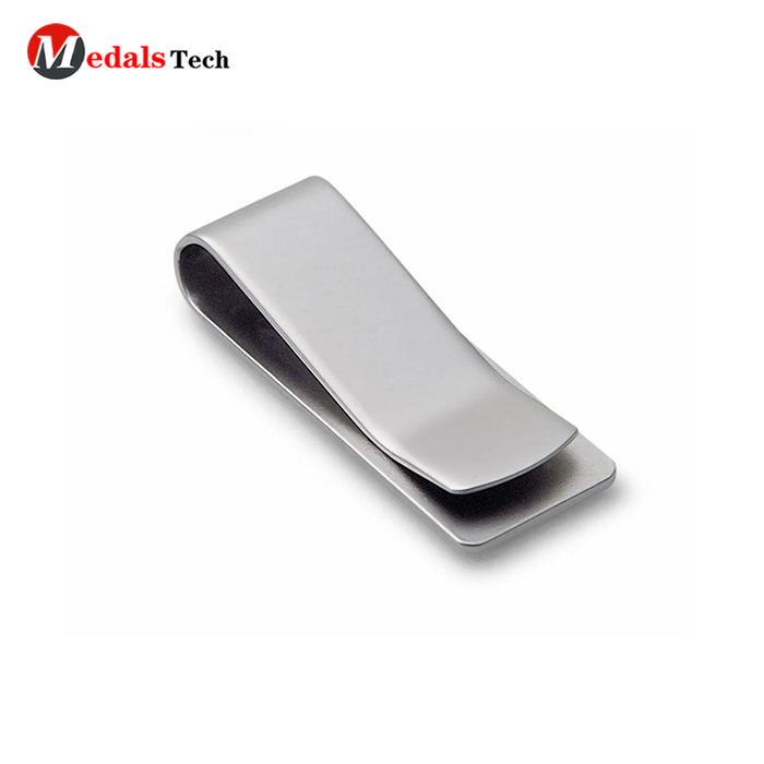 Cheap custom shape spring engraved logo metal wallet money clip