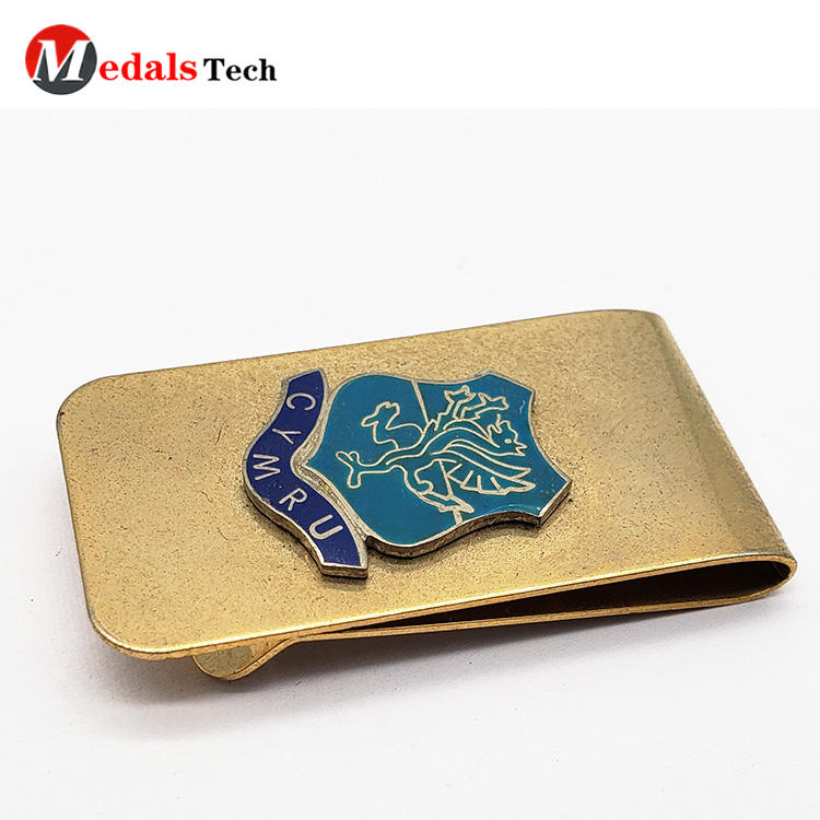Stainless steel 304 customized brush metal photo money clip with silk printed logo