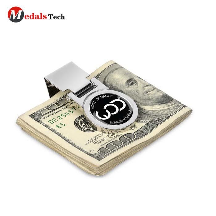 High quality custom metal logo folding hinged money clips