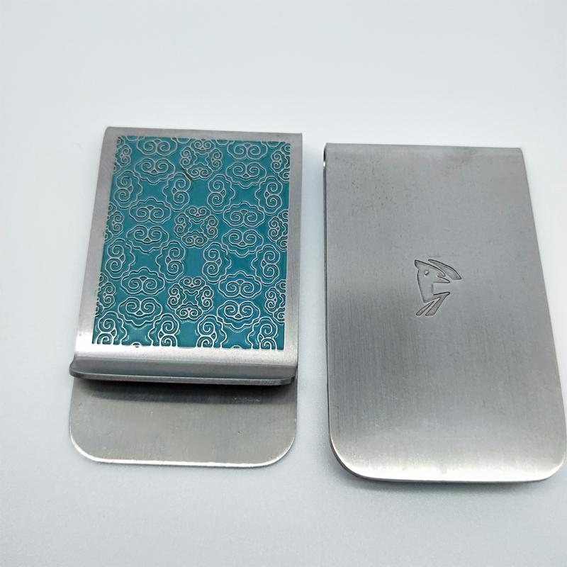 Antique silver unique personalized money clip with soft enamel filled