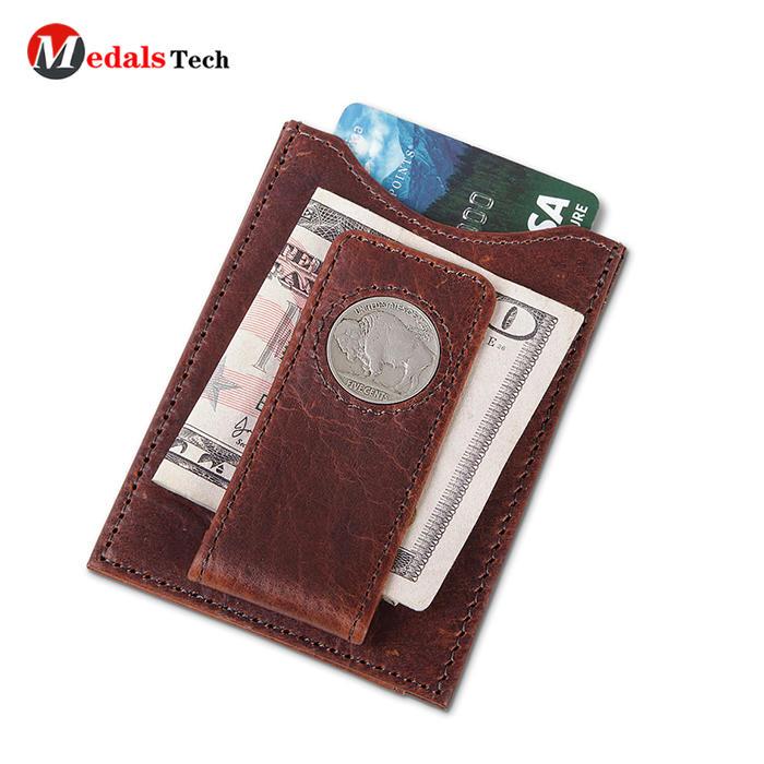 Dongguan custom leather wallet giftmoney clip for men