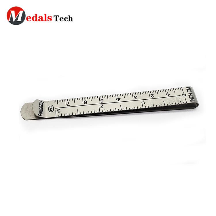 Simple stainless steel promotional custom ruler engraving logo pocket wallet money clip