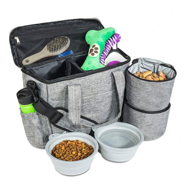 Osgoodway Week Away Cat Dog Pet Travel Bag with Food Storage Containers and Collapsible Dog Bowls