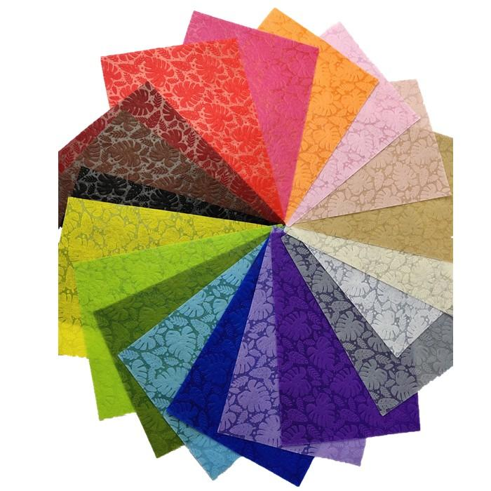 TNT material New Design Leaves Colorful Embossed Non-woven Spunbond polypropylene Fabric