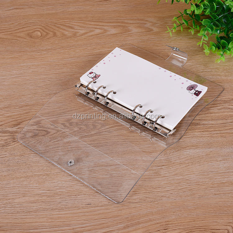 product-A5 A6 A7 Blank Transparent Plastic PP Cover Loose Leaf Ring Spiral Notebook With Filler Pape-1