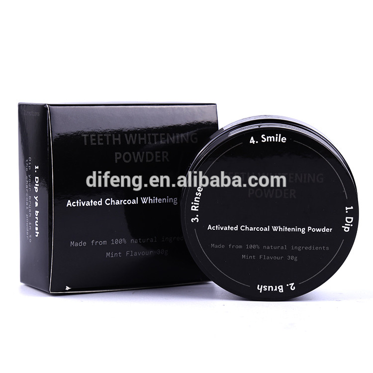 Activated coconut charcoal powder teeth whitening with private label