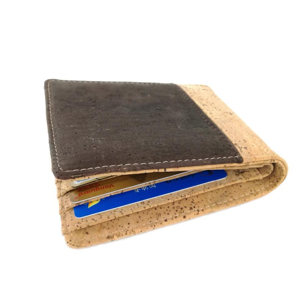 Hot Selling Bifold Cork Wallet Men Short Wallets Vegan Leather Card Wallet Beige Brown Color