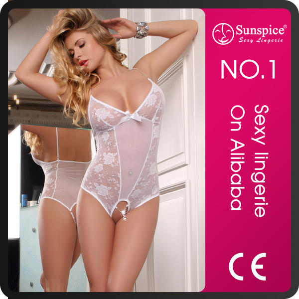 open-crotch with rhinestone sexy transparent nude babydoll