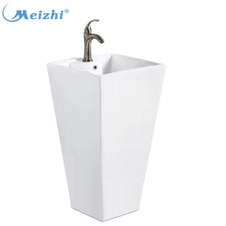 Chinese washroom one piece unique wash basin with pedestal