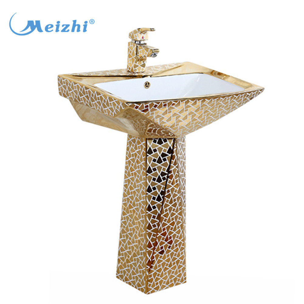Ceramic golden pedestal wash basin for washroom