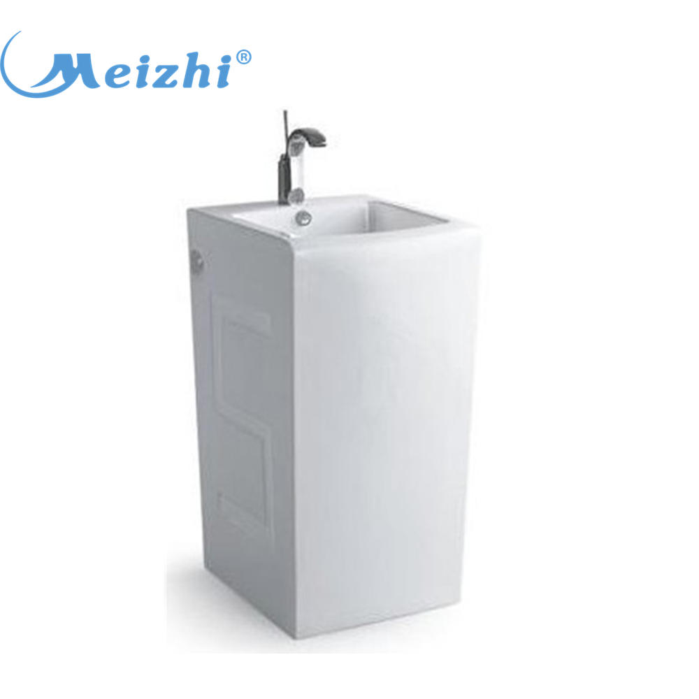 Ceramic one piece pedestal wash hand basin stand