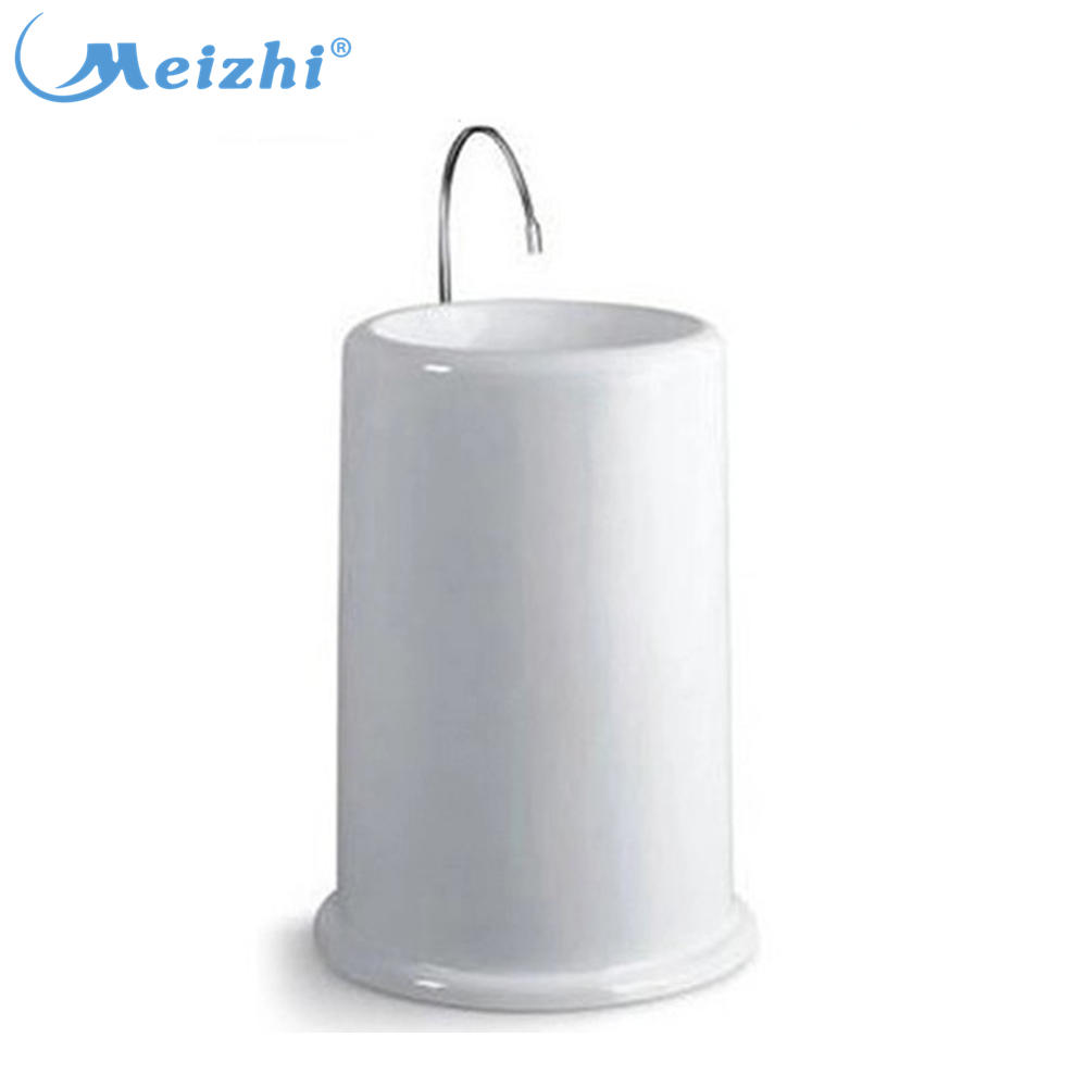 Porcelain bathroom cylindrical pedestal wash basin