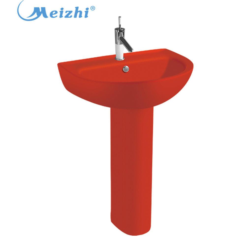 Bathroom red color Pedestal washbasin sink
