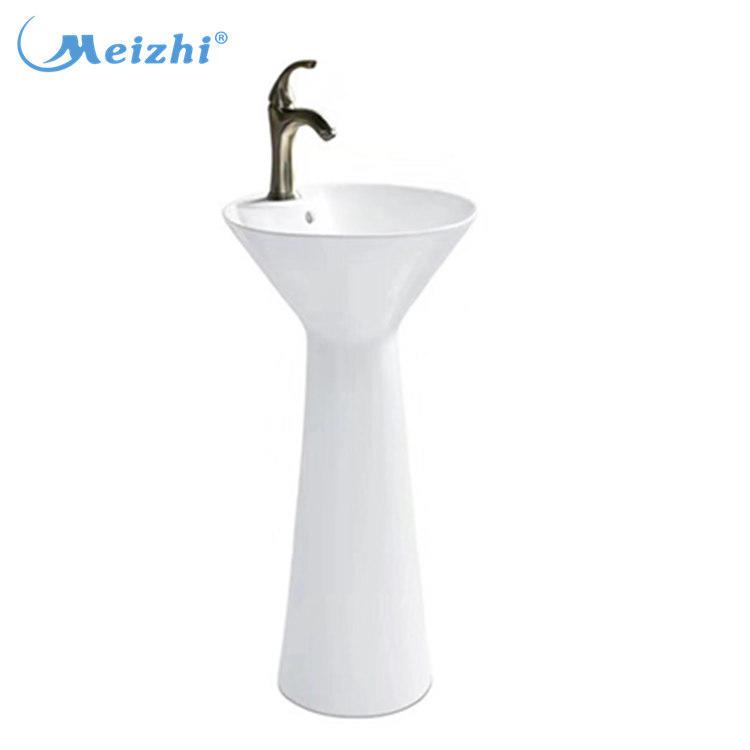 Unique shape bathroom ceramic basin with pedestal