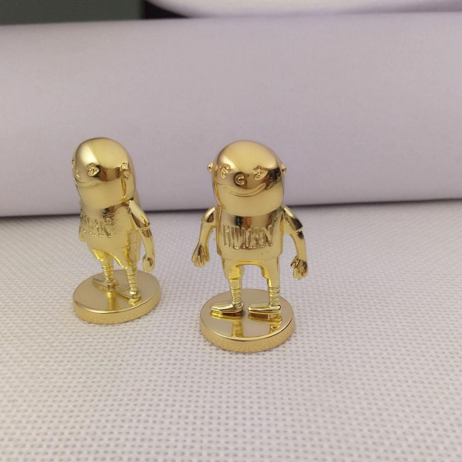 Gold plated 3d small metal sculpture art stainless steel for home decoration
