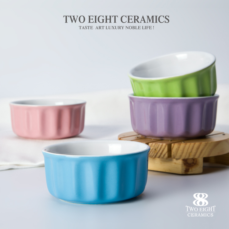 wholesale candy color ramekin bowl ceramics dessert bowl ice cream bowl