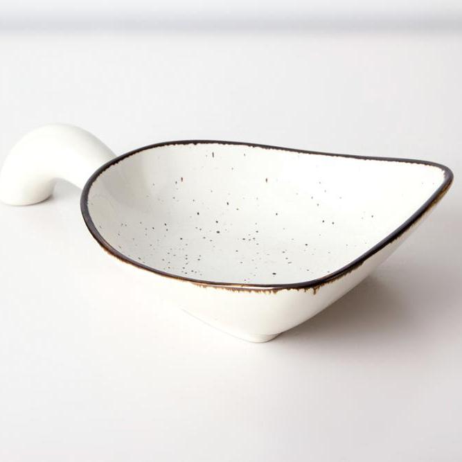 wholesale porcelain whole glazed hotel restaurant sauce bowl wiht handles
