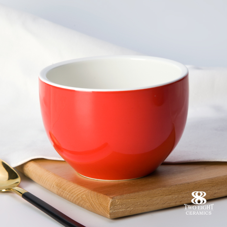 new arrivals hotel crockery red soup bowl with handle soup cup