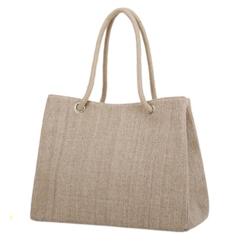 ks-130 High Quality Women Linen Woven Luxury Tote Large Capacity Female Casual Shoulder Bag Lady Daily Handbag Fresh Beach Shop