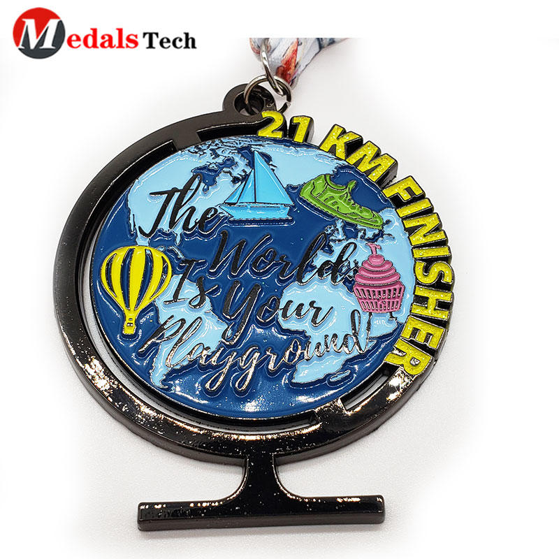 2021 Cheap antique gun plating earth globe shape custom logo education reading medals and trophies custom
