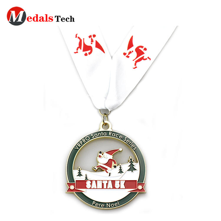 Promotional cut out design santa souvenir runningmedals